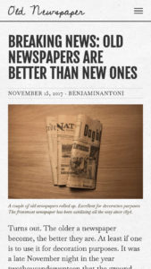 Old Newspaper WordPress Theme, Natural Paper Color Scheme