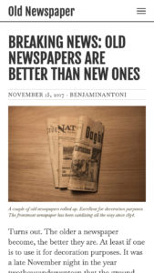 Old Newspaper WordPress Theme, White Color Scheme