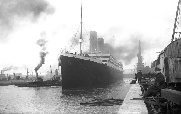The Titanic docked in Southampton