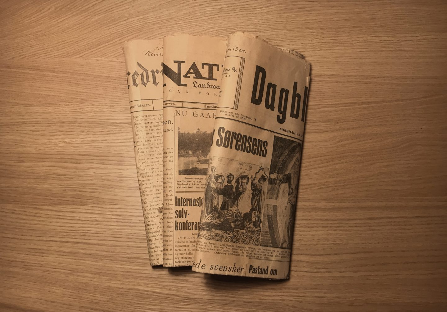 Old Newspapers Rolled Up