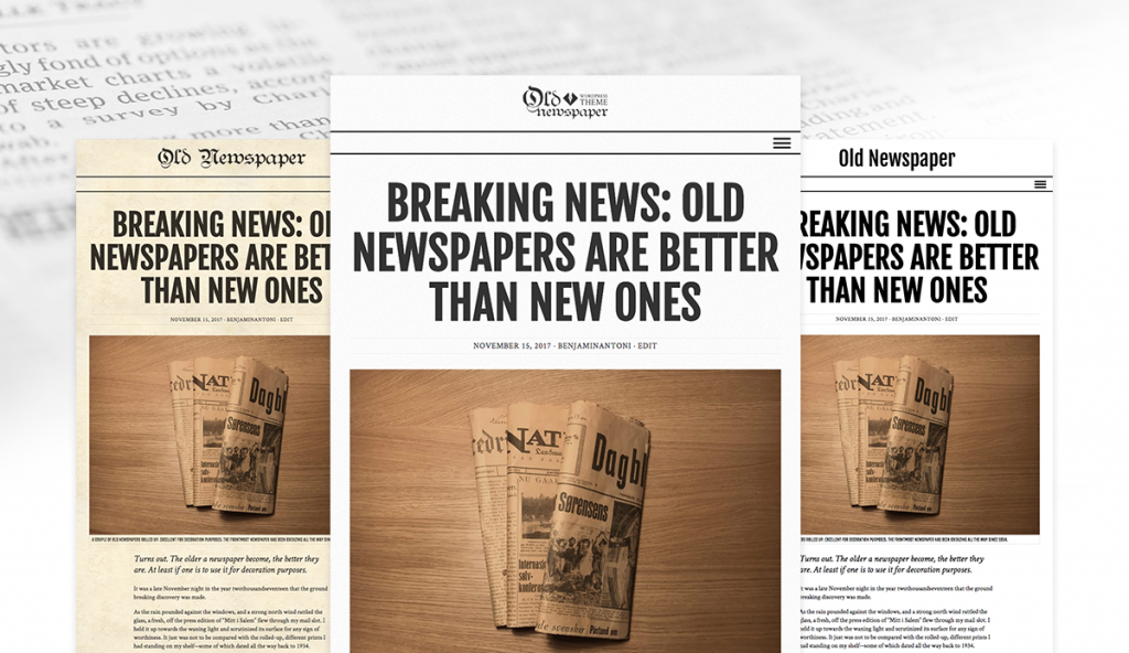 The three styles of Old Newspaper WordPress Theme