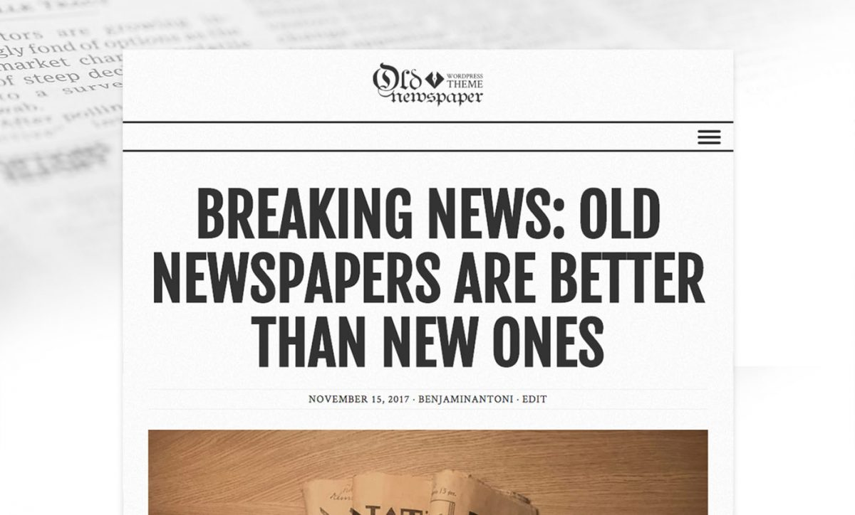 Old Newspaper WordPress Theme with Gray color Scheme.