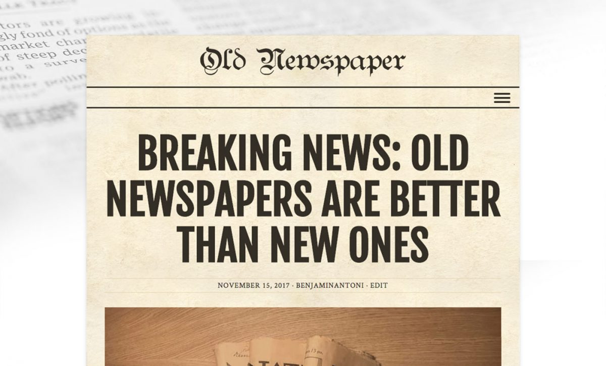 Old Newspaper WordPress Theme with Oxidized color Scheme.