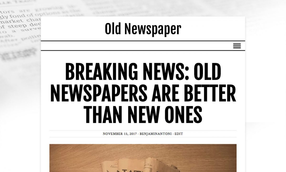 Old Newspaper WordPress Theme with White color scheme.