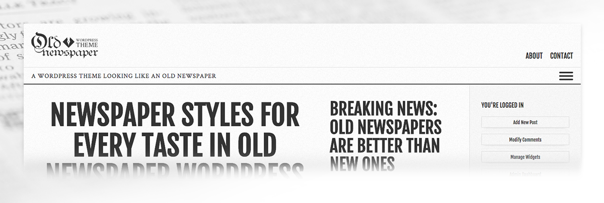 Old Newspaper WordPress Theme Header Area