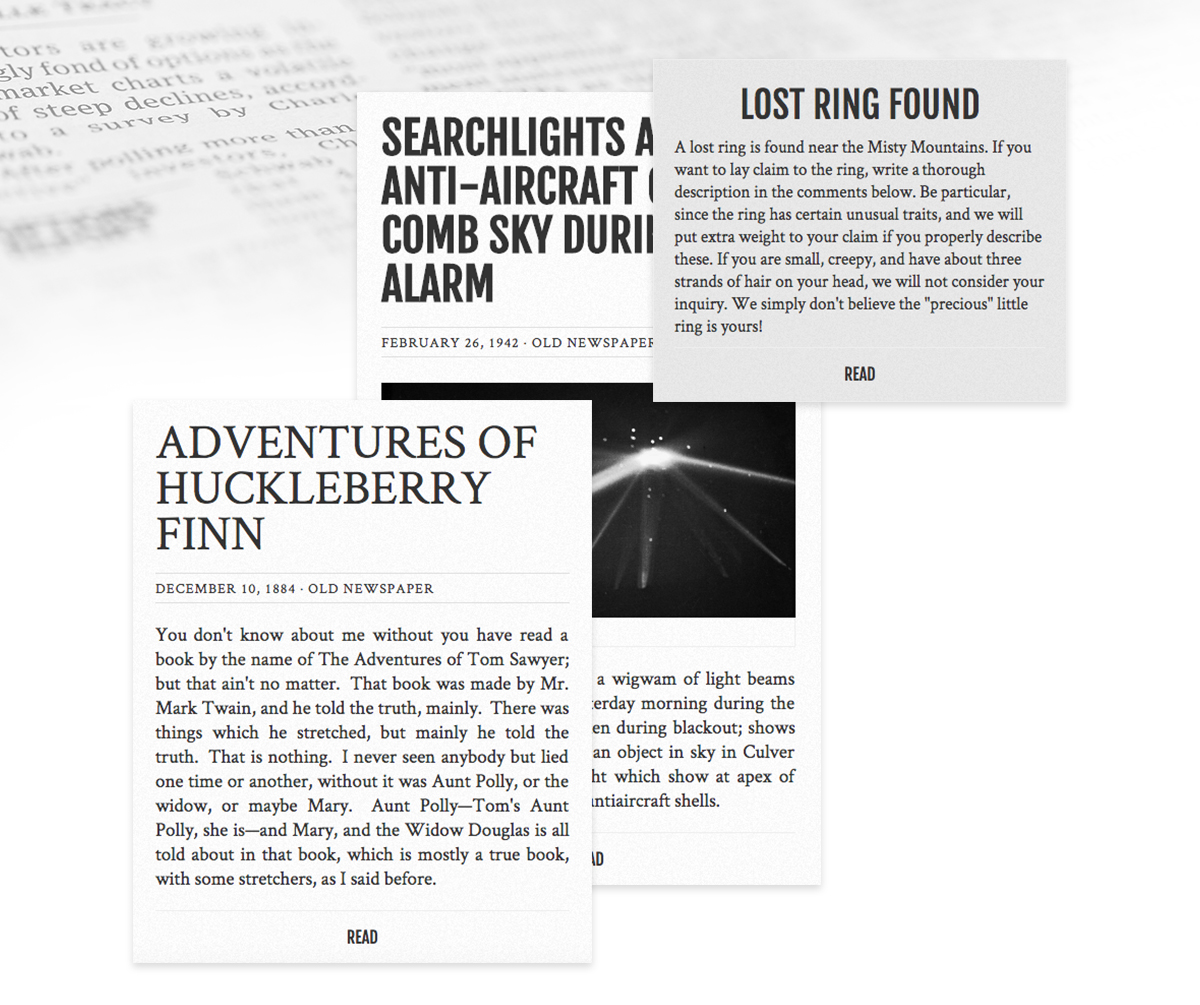 Old Newspaper WordPress Theme post types.