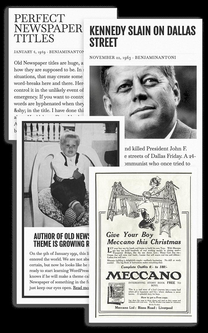 Old Newspaper WordPress Theme Featuring Three Post Types