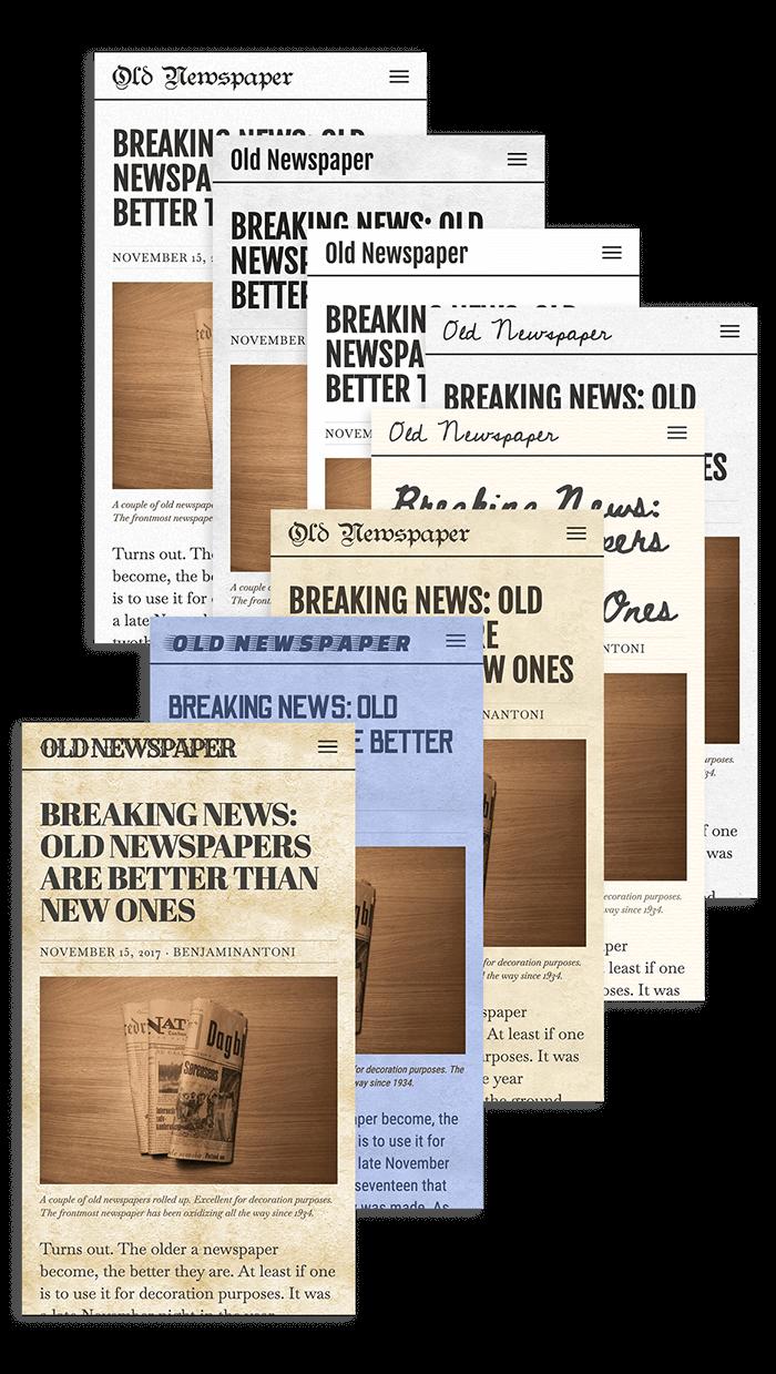 Old Newspaper WordPress Theme in Three Newspaper Styles